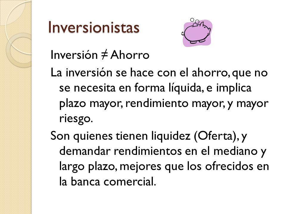 Inversionistas Inversión ≠ Ahorro