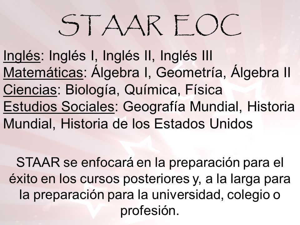 STAAR EOC Inglés: Inglés I, Inglés II, Inglés III