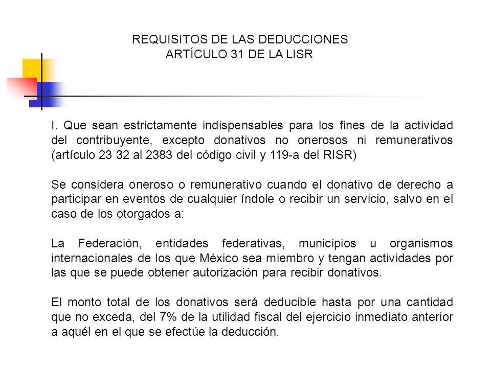 REQUISITOS DE LAS DEDUCCIONES ARTÍCULO 31 DE LA LISR