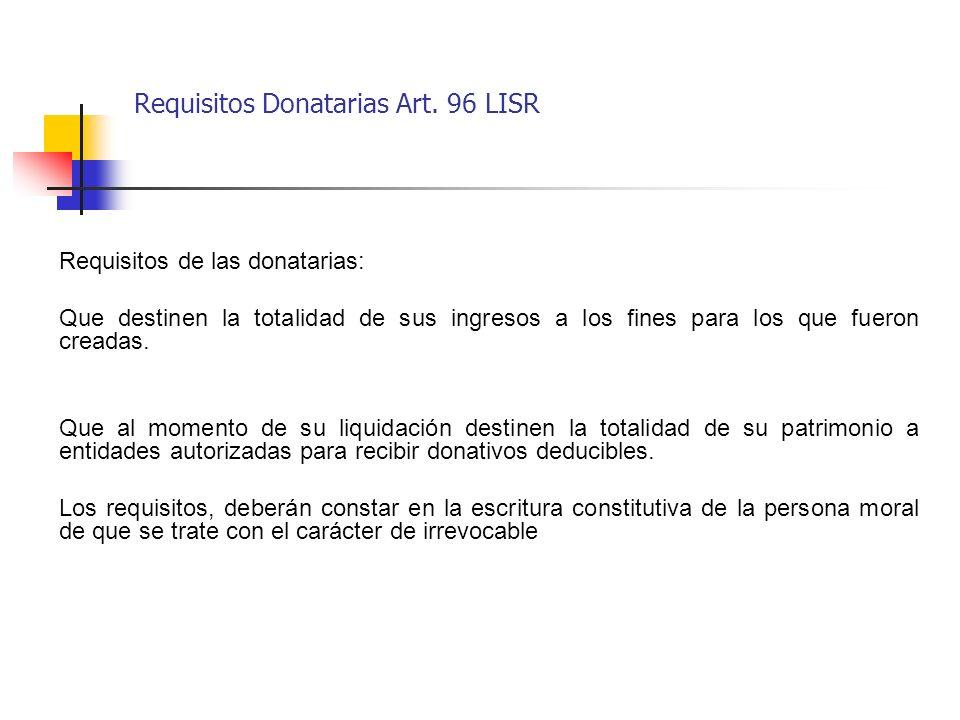 Requisitos Donatarias Art. 96 LISR
