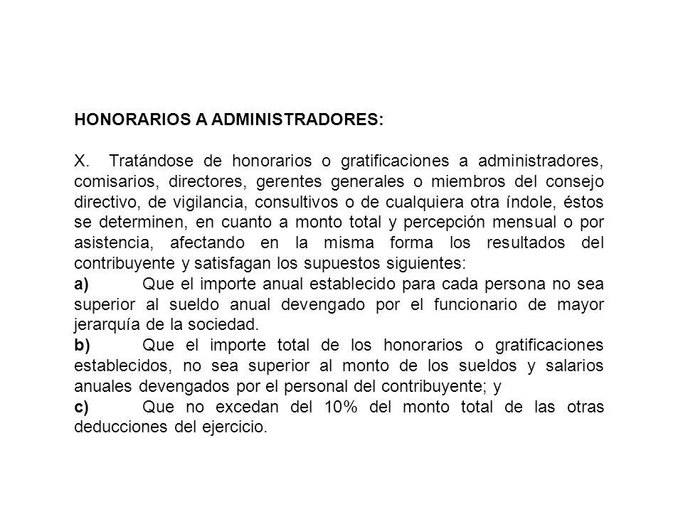 HONORARIOS A ADMINISTRADORES: