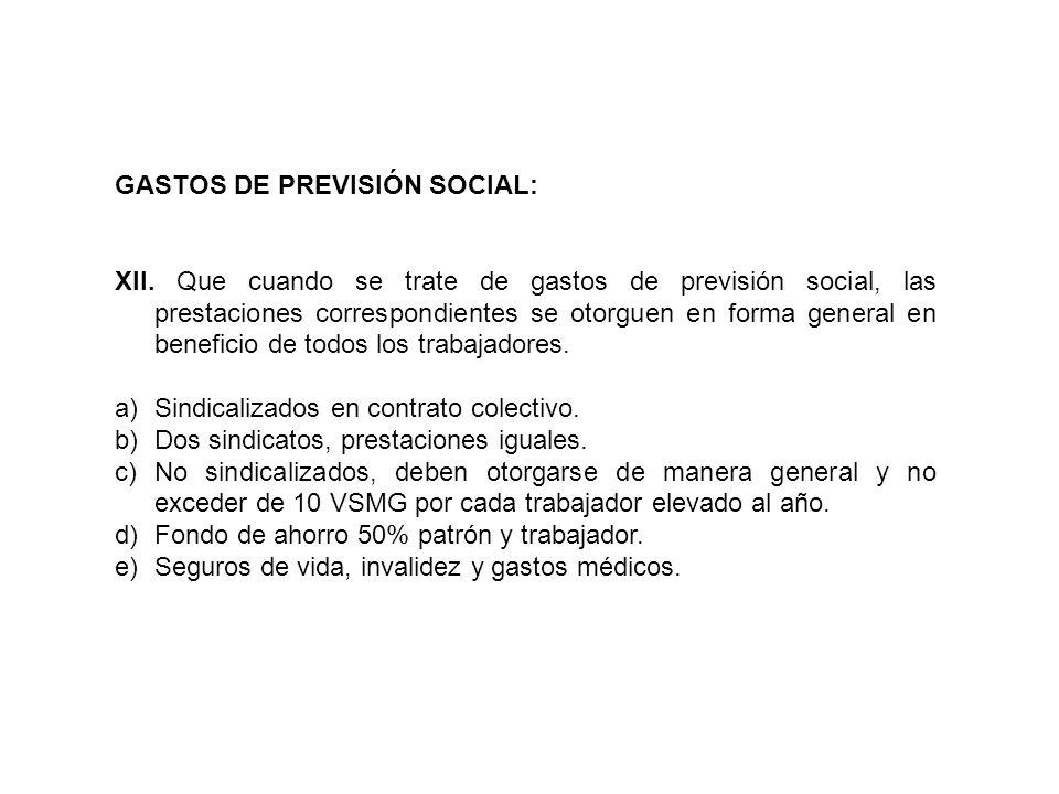 GASTOS DE PREVISIÓN SOCIAL: