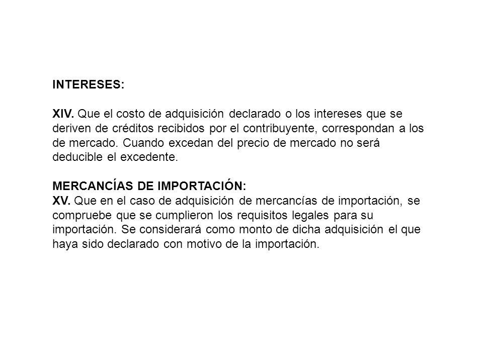 MERCANCÍAS DE IMPORTACIÓN: