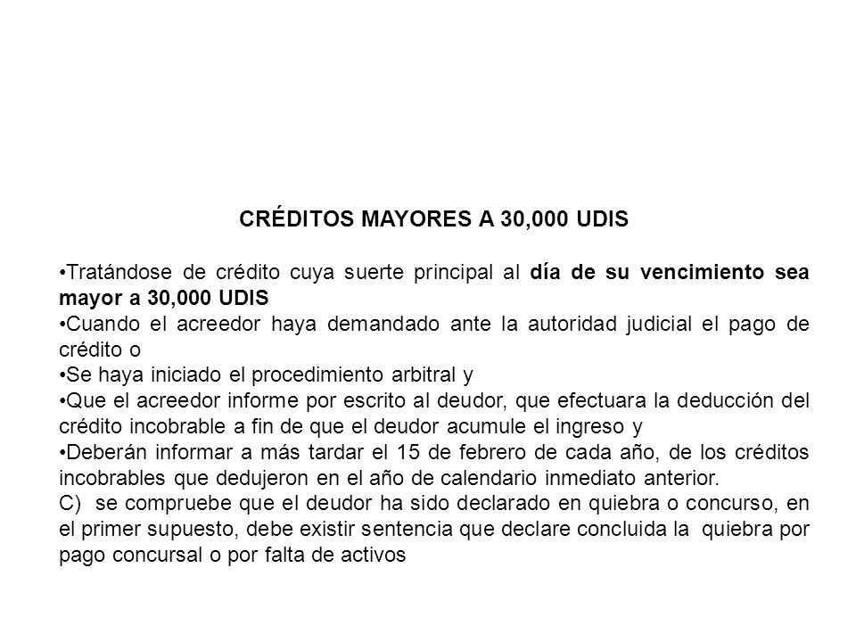 CRÉDITOS MAYORES A 30,000 UDIS