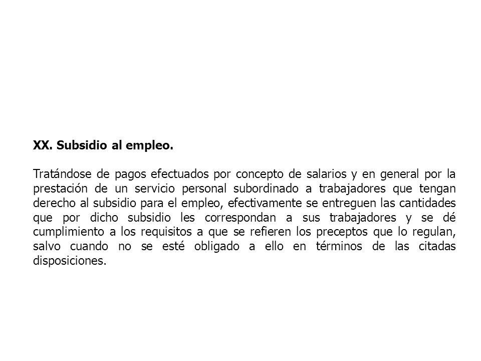 XX. Subsidio al empleo.