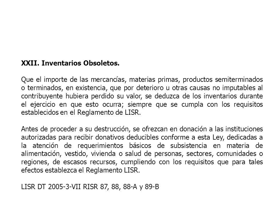 XXII. Inventarios Obsoletos.