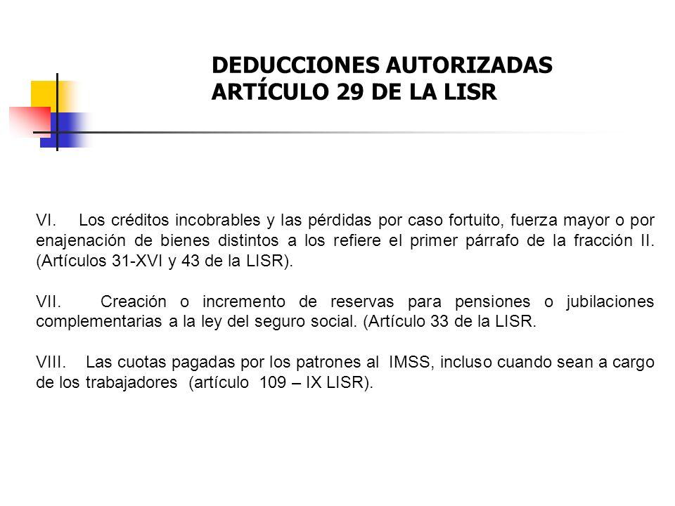 DEDUCCIONES AUTORIZADAS ARTÍCULO 29 DE LA LISR