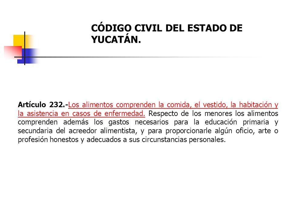 CÓDIGO CIVIL DEL ESTADO DE YUCATÁN.