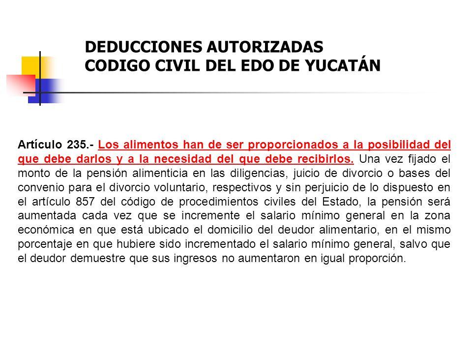 DEDUCCIONES AUTORIZADAS CODIGO CIVIL DEL EDO DE YUCATÁN
