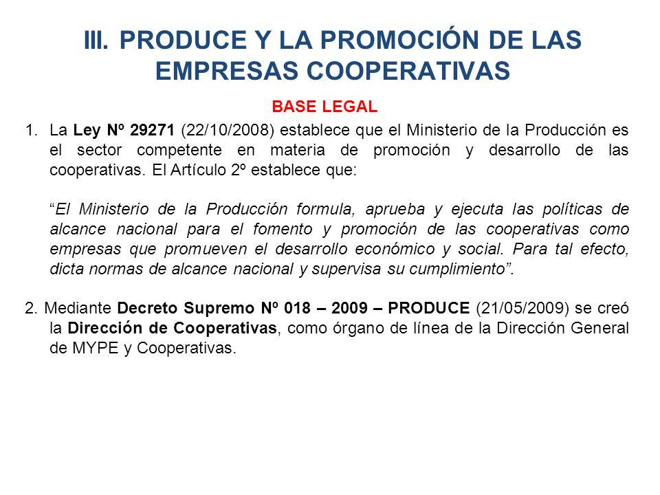 III. PRODUCE Y LA PROMOCIÓN DE LAS EMPRESAS COOPERATIVAS