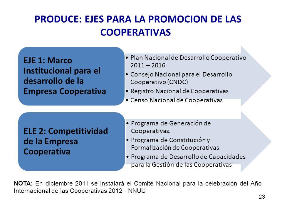 PRODUCE: EJES PARA LA PROMOCION DE LAS COOPERATIVAS