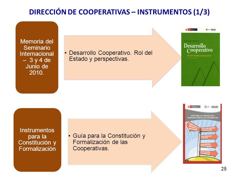 DIRECCIÓN DE COOPERATIVAS – INSTRUMENTOS (1/3)