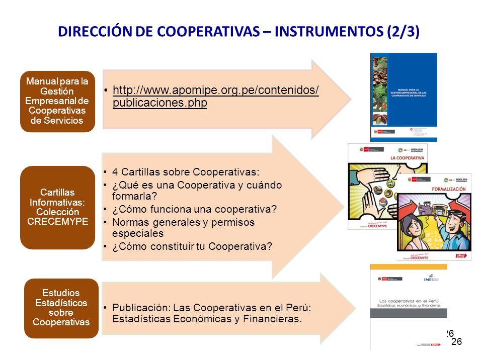 DIRECCIÓN DE COOPERATIVAS – INSTRUMENTOS (2/3)