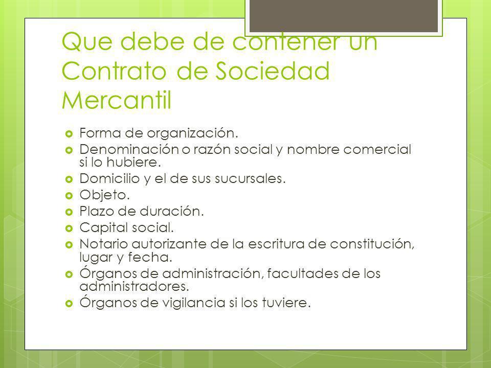 Que debe de contener un Contrato de Sociedad Mercantil