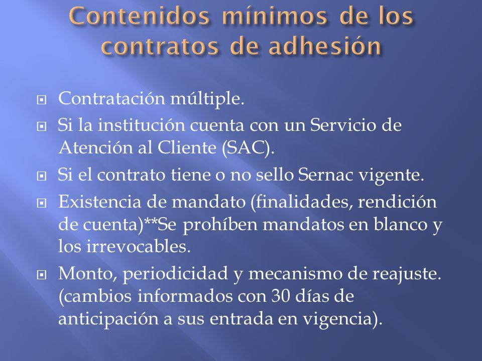 Contenidos mínimos de los contratos de adhesión