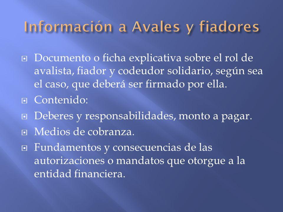 Información a Avales y fiadores