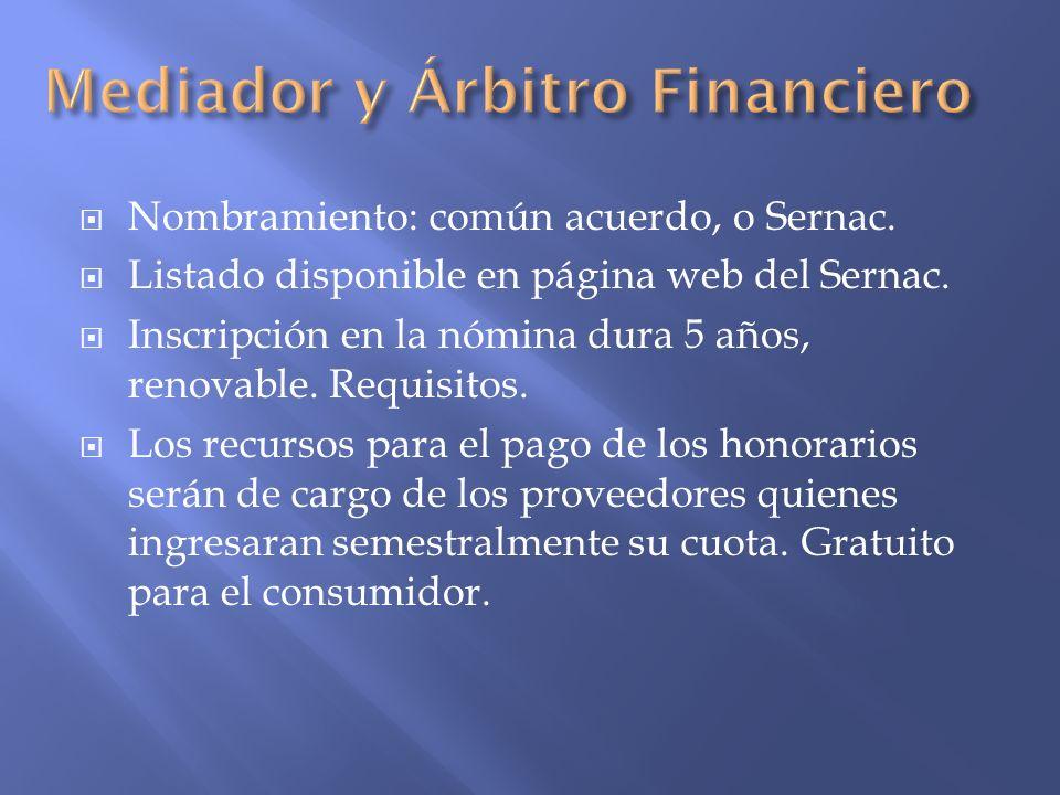 Mediador y Árbitro Financiero