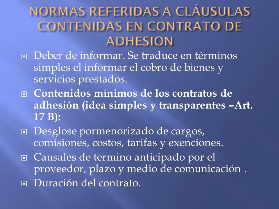 NORMAS REFERIDAS A CLÁUSULAS CONTENIDAS EN CONTRATO DE ADHESION
