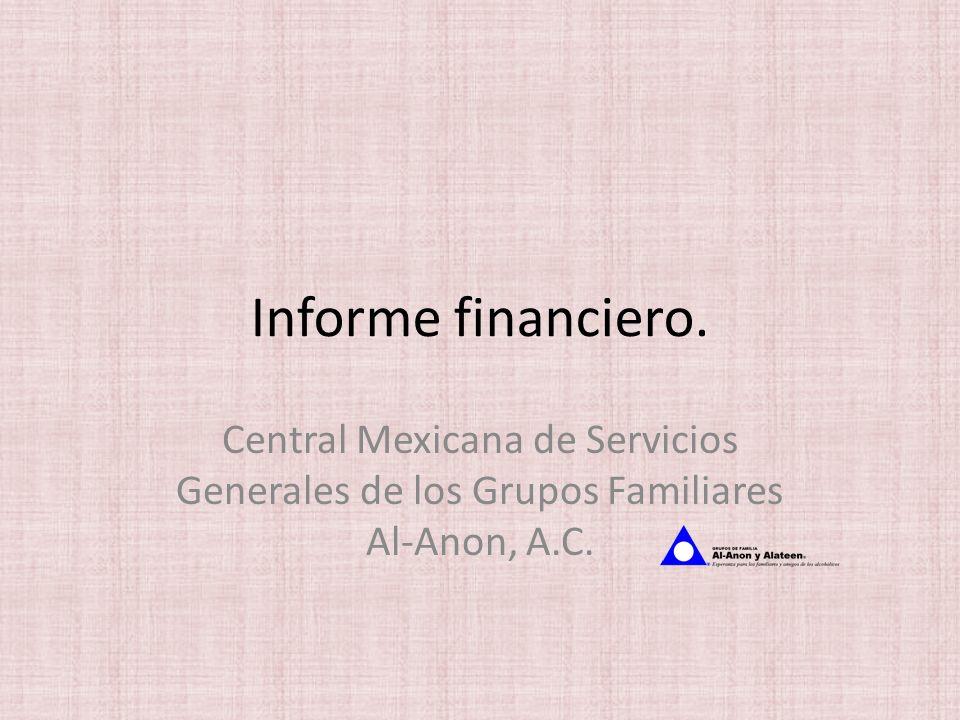 Informe financiero. Central Mexicana de Servicios Generales de los Grupos Familiares Al-Anon, A.C.