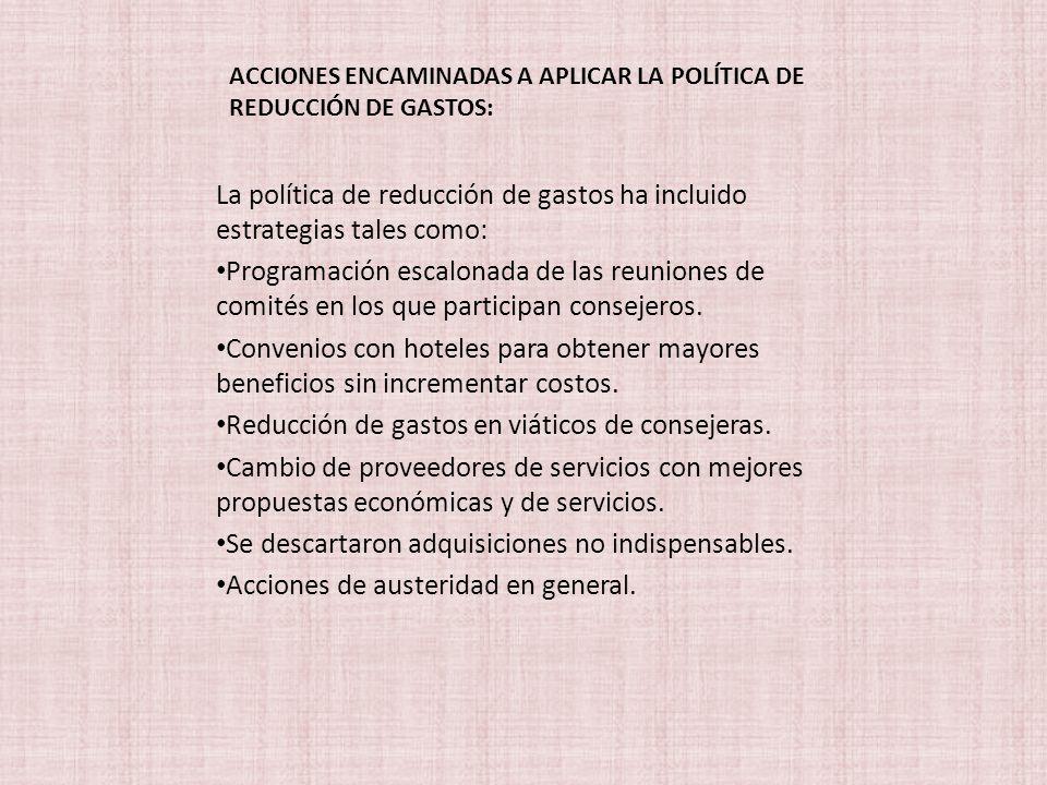 ACCIONES ENCAMINADAS A APLICAR LA POLÍTICA DE REDUCCIÓN DE GASTOS:
