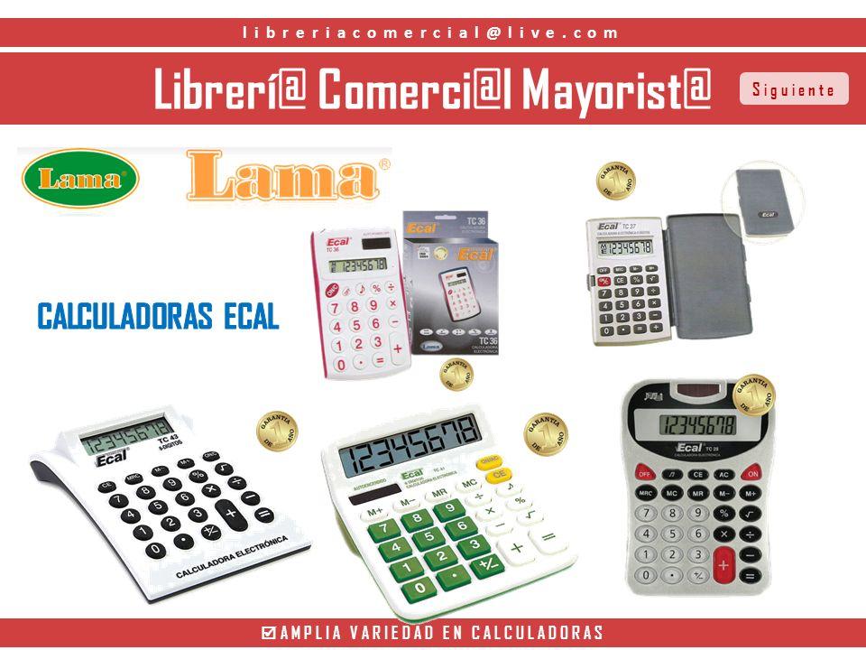 Librerí@ Comerci@l Mayorist@ AMPLIA VARIEDAD EN CALCULADORAS