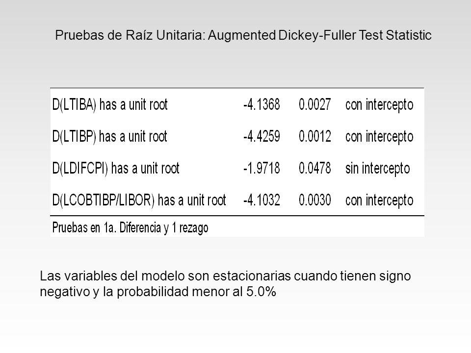 Pruebas de Raíz Unitaria: Augmented Dickey-Fuller Test Statistic