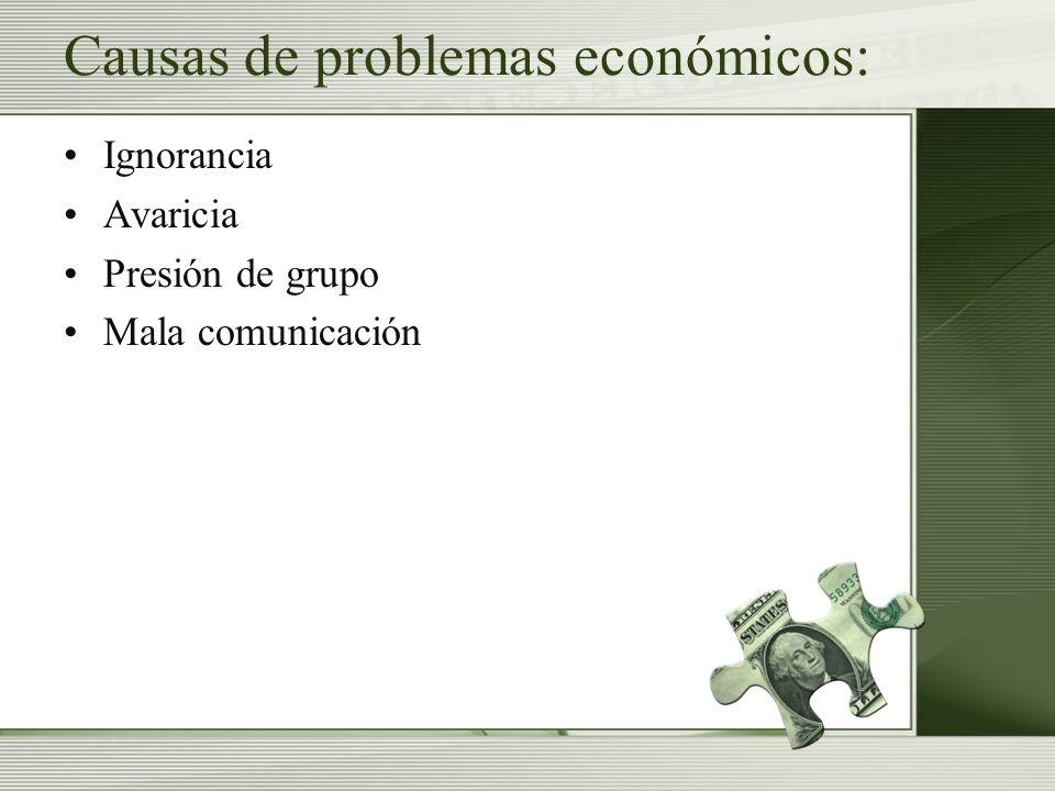 Causas de problemas económicos: