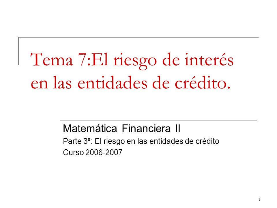 Tema 7:El riesgo de interés en las entidades de crédito.
