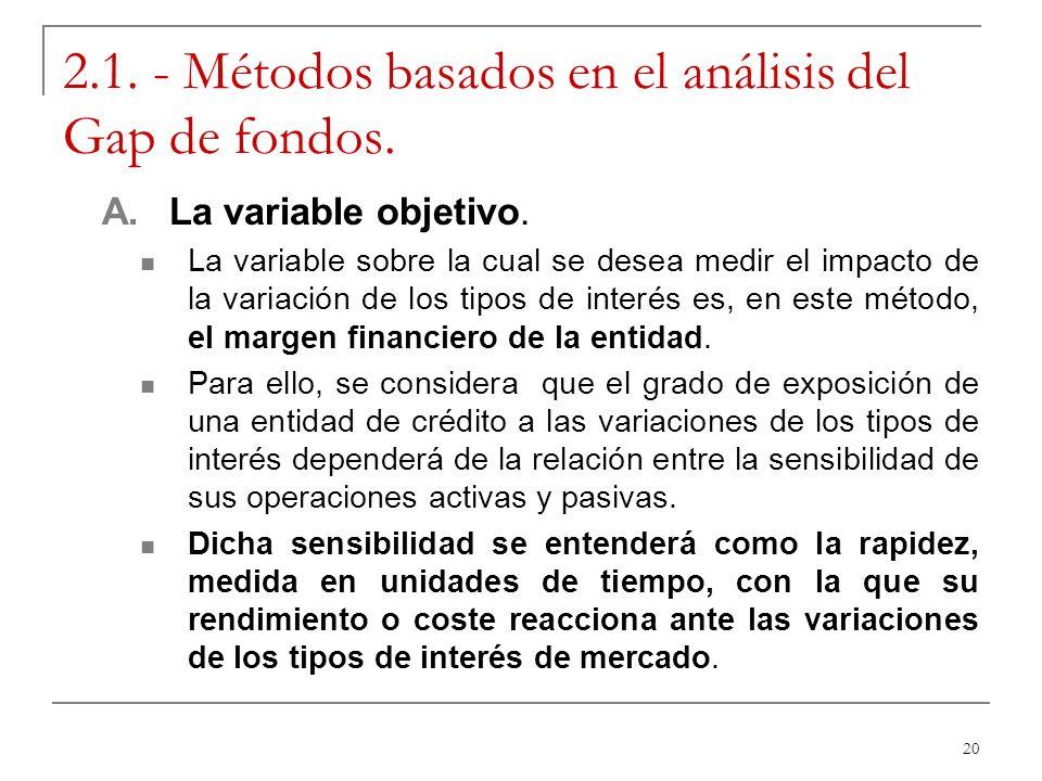 2.1. - Métodos basados en el análisis del Gap de fondos.