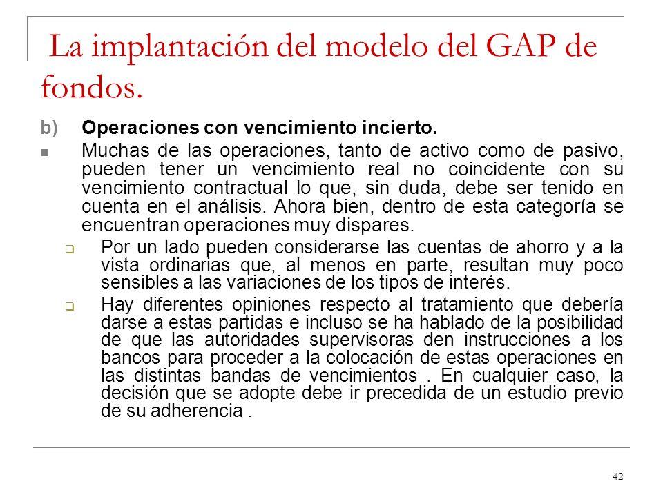 La implantación del modelo del GAP de fondos.