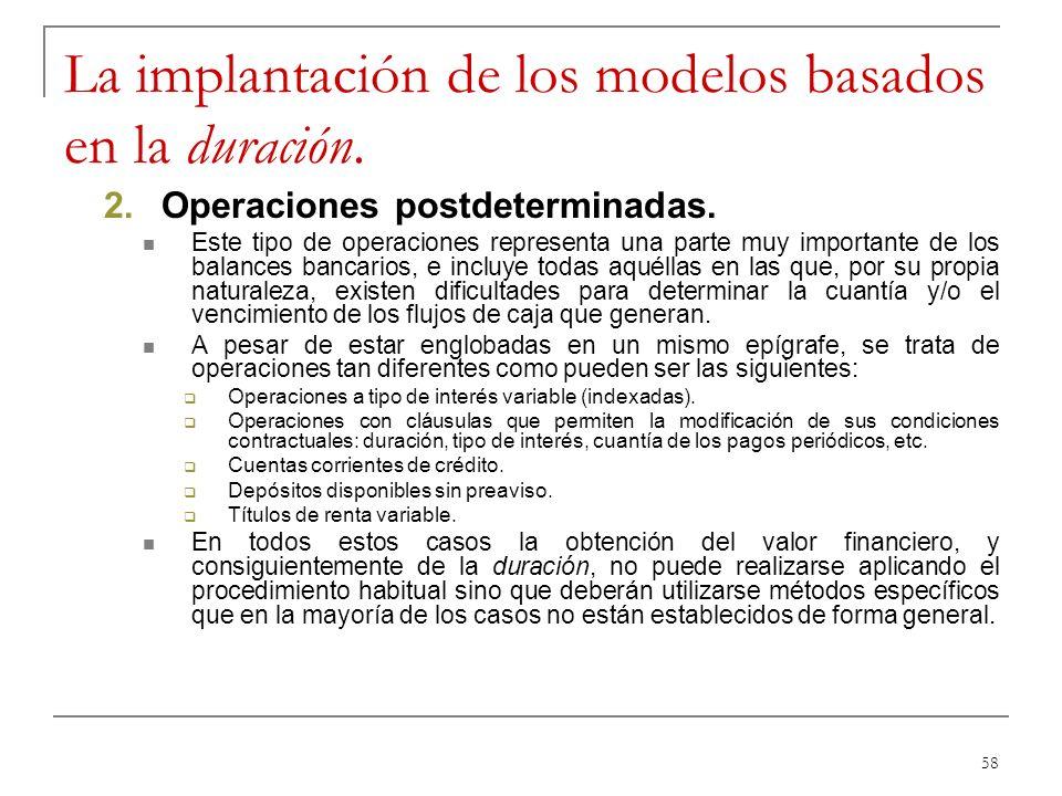 La implantación de los modelos basados en la duración.
