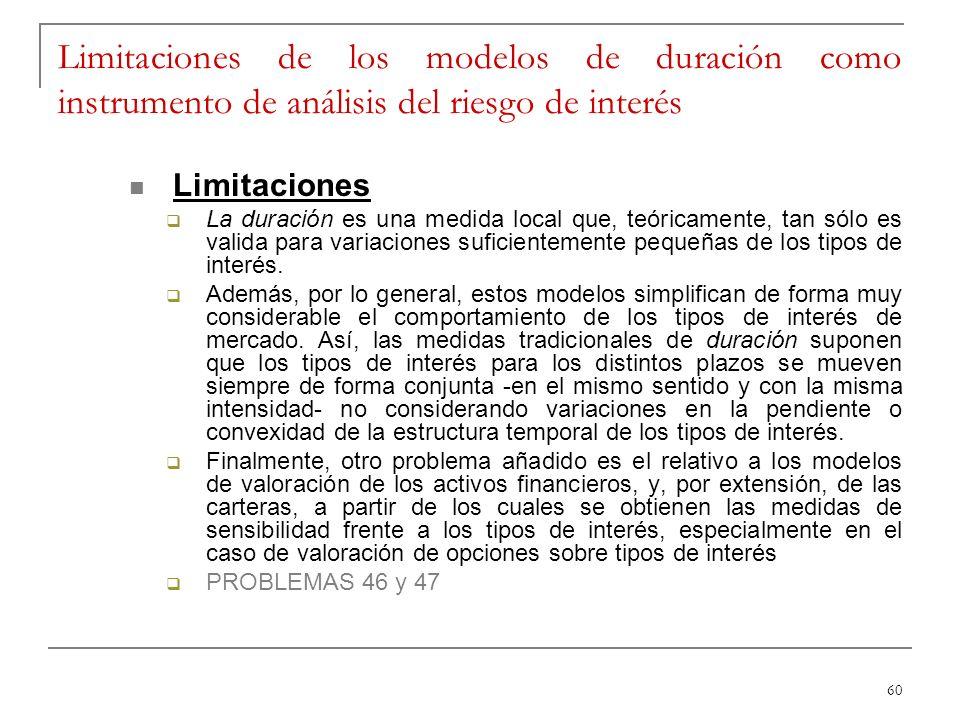 Limitaciones de los modelos de duración como instrumento de análisis del riesgo de interés