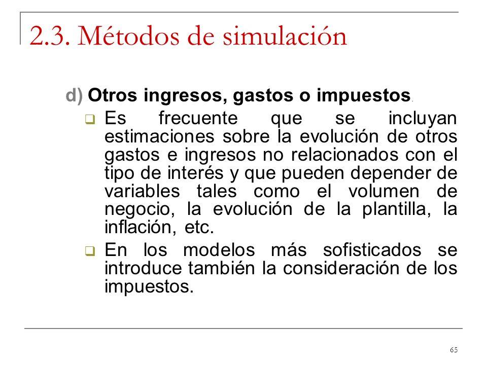 2.3. Métodos de simulación Otros ingresos, gastos o impuestos.