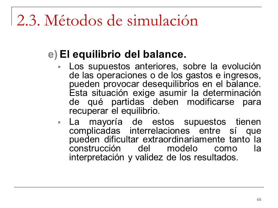 2.3. Métodos de simulación El equilibrio del balance.