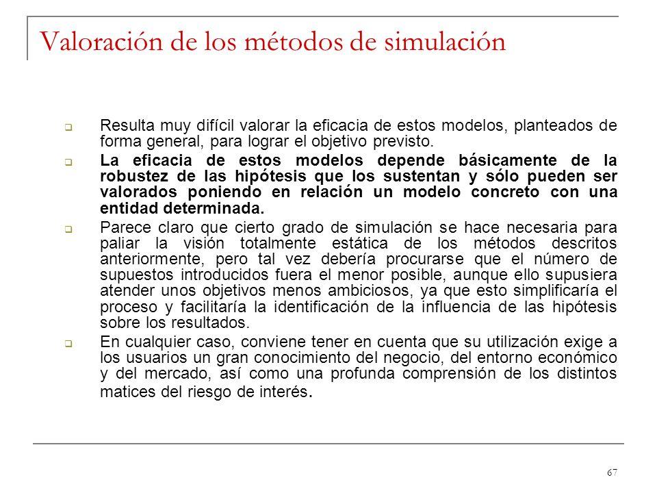 Valoración de los métodos de simulación