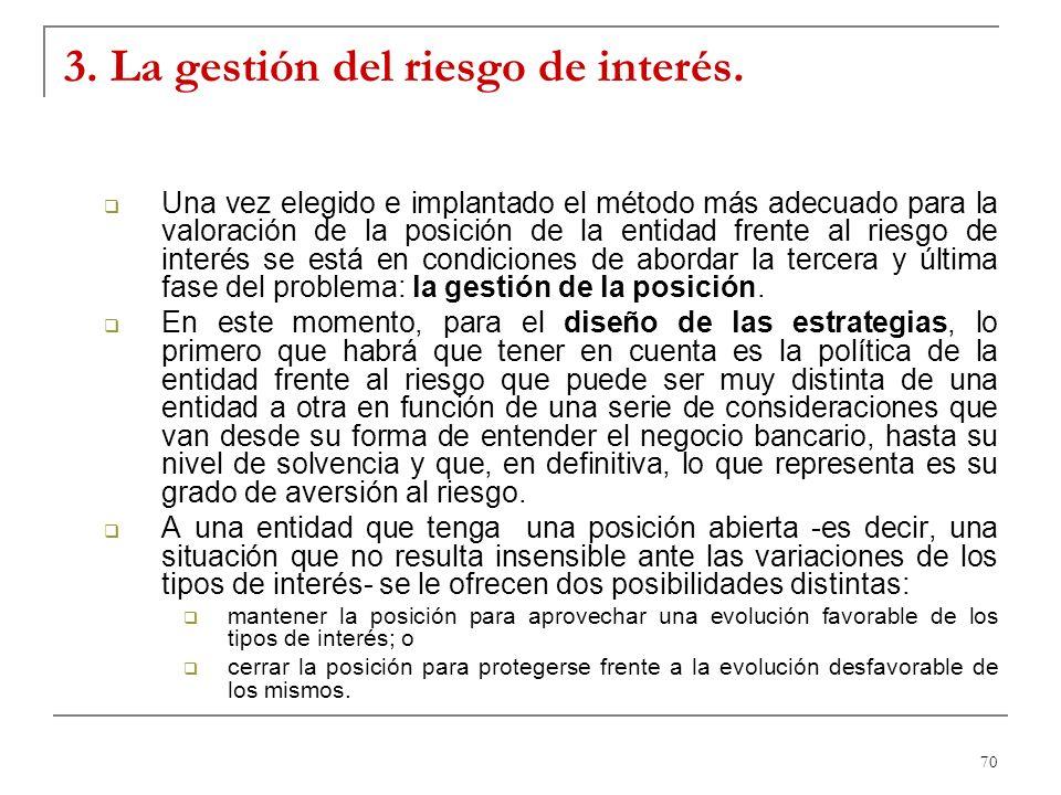 3. La gestión del riesgo de interés.