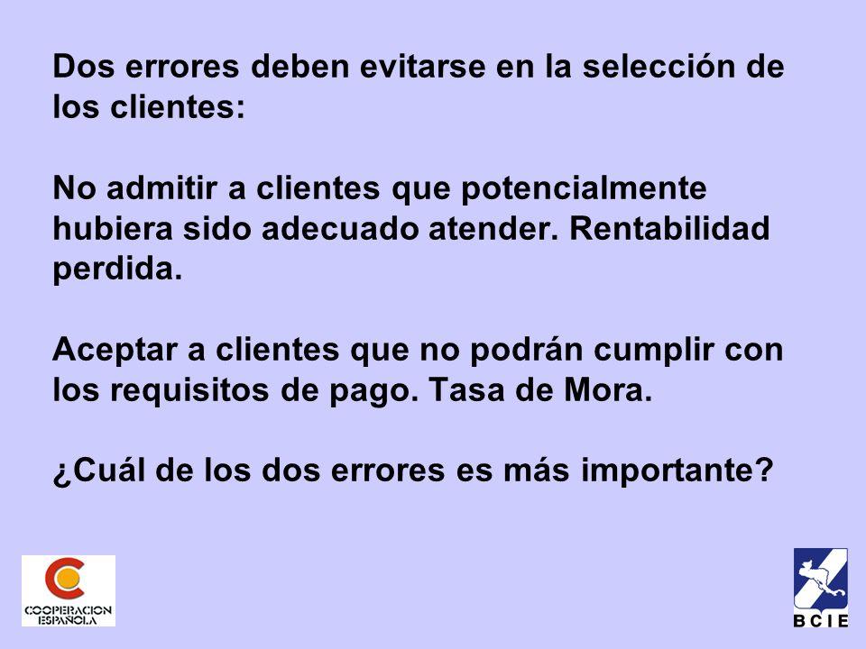 Dos errores deben evitarse en la selección de los clientes: No admitir a clientes que potencialmente hubiera sido adecuado atender.