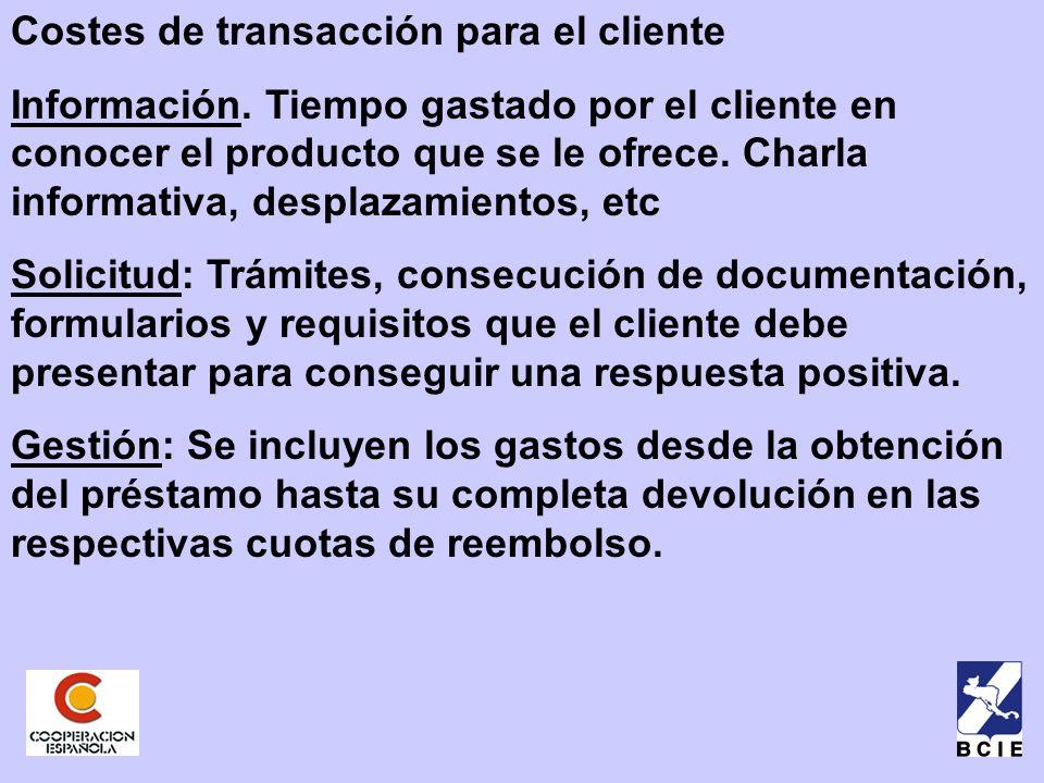 Costes de transacción para el cliente