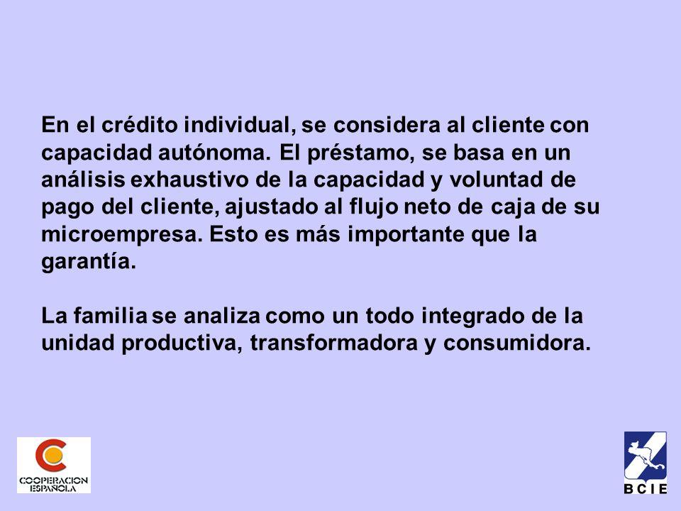 En el crédito individual, se considera al cliente con capacidad autónoma.