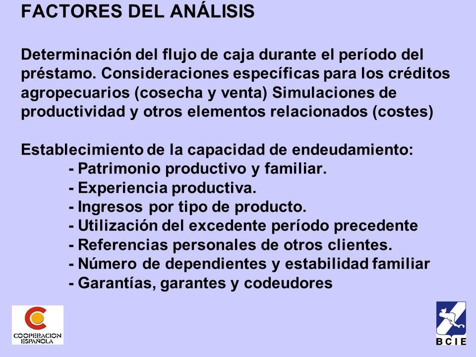 FACTORES DEL ANÁLISIS Determinación del flujo de caja durante el período del préstamo.