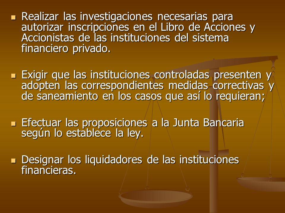 Realizar las investigaciones necesarias para autorizar inscripciones en el Libro de Acciones y Accionistas de las instituciones del sistema financiero privado.