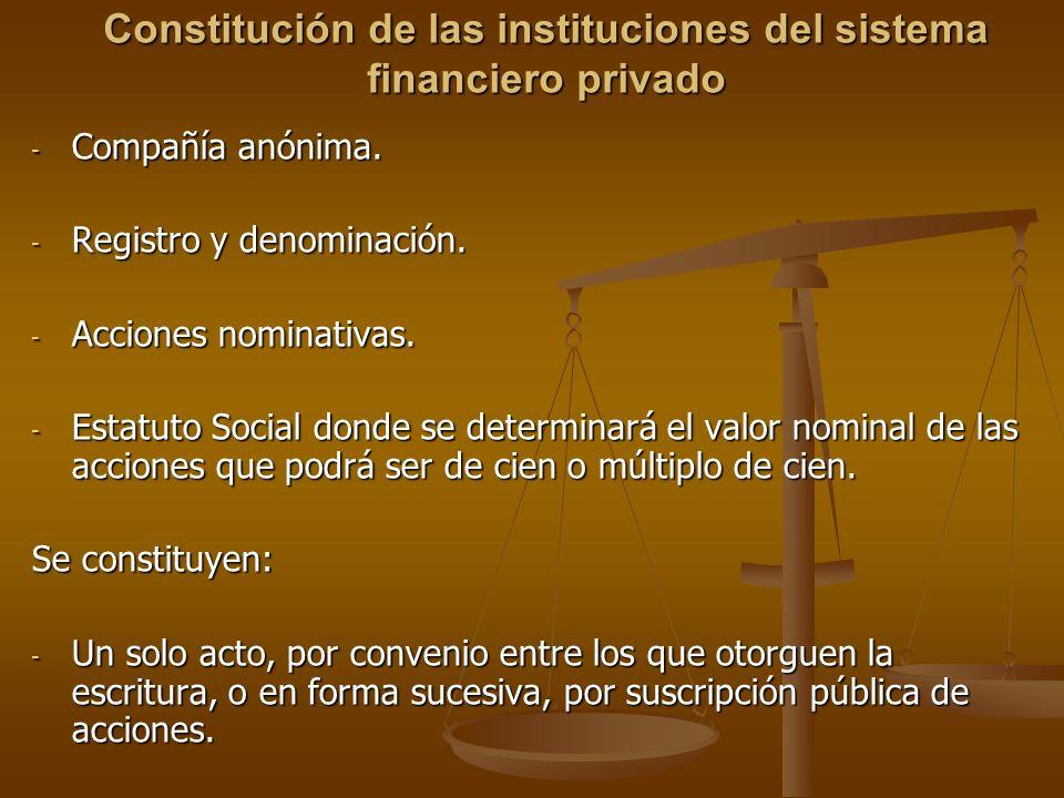 Constitución de las instituciones del sistema financiero privado