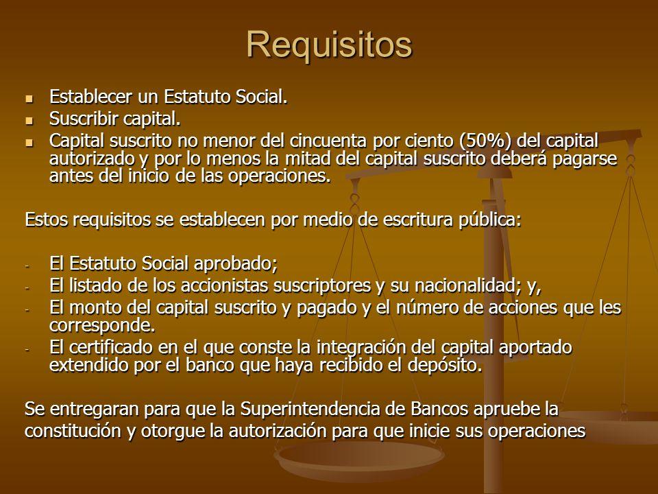 Requisitos Establecer un Estatuto Social. Suscribir capital.