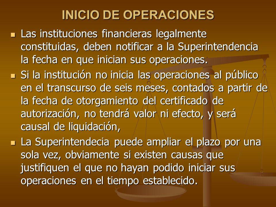 INICIO DE OPERACIONES