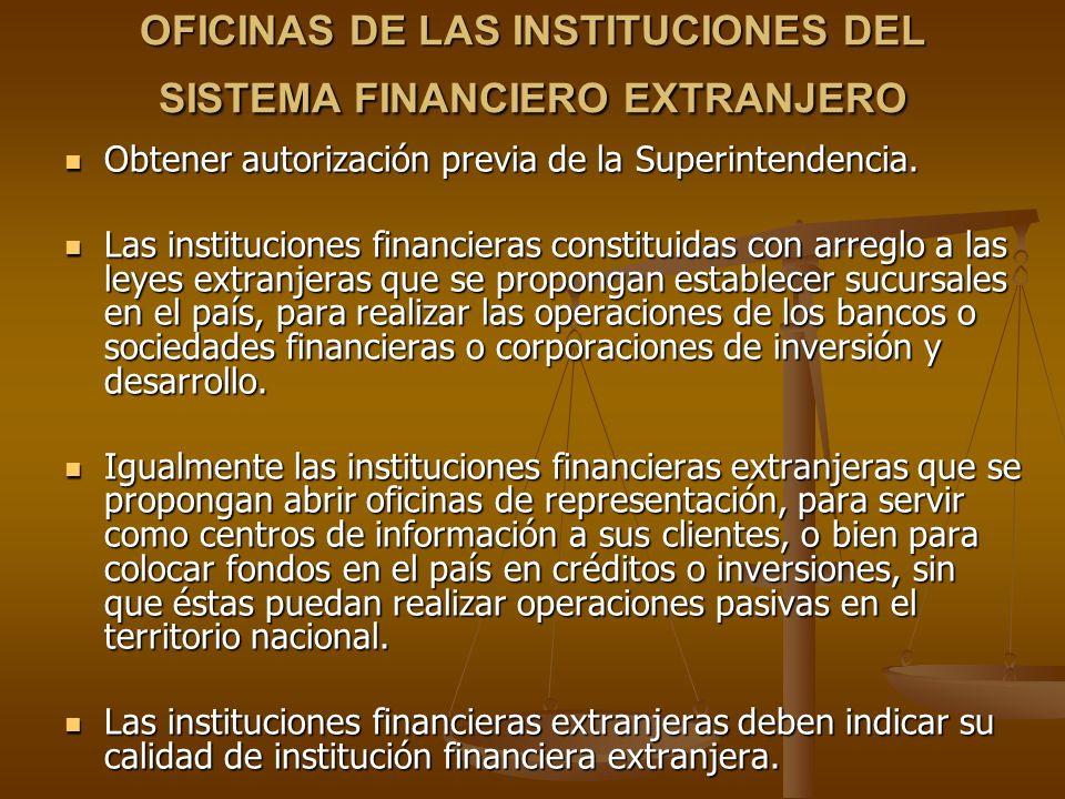 OFICINAS DE LAS INSTITUCIONES DEL SISTEMA FINANCIERO EXTRANJERO