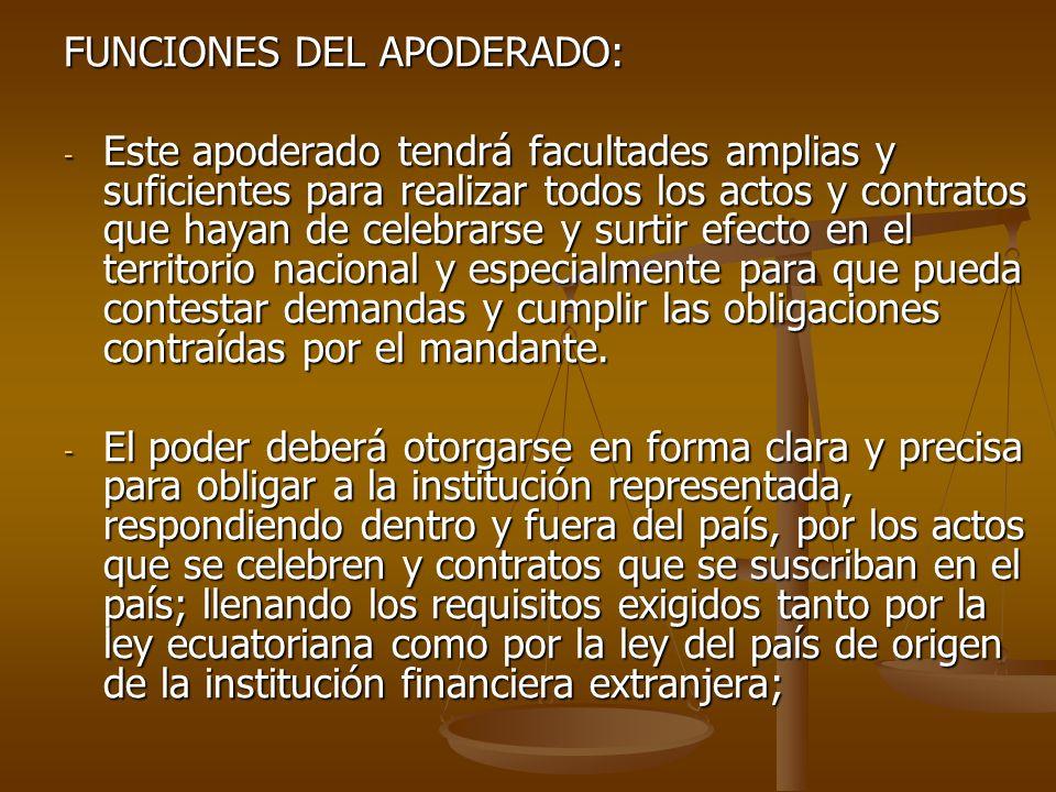 FUNCIONES DEL APODERADO:
