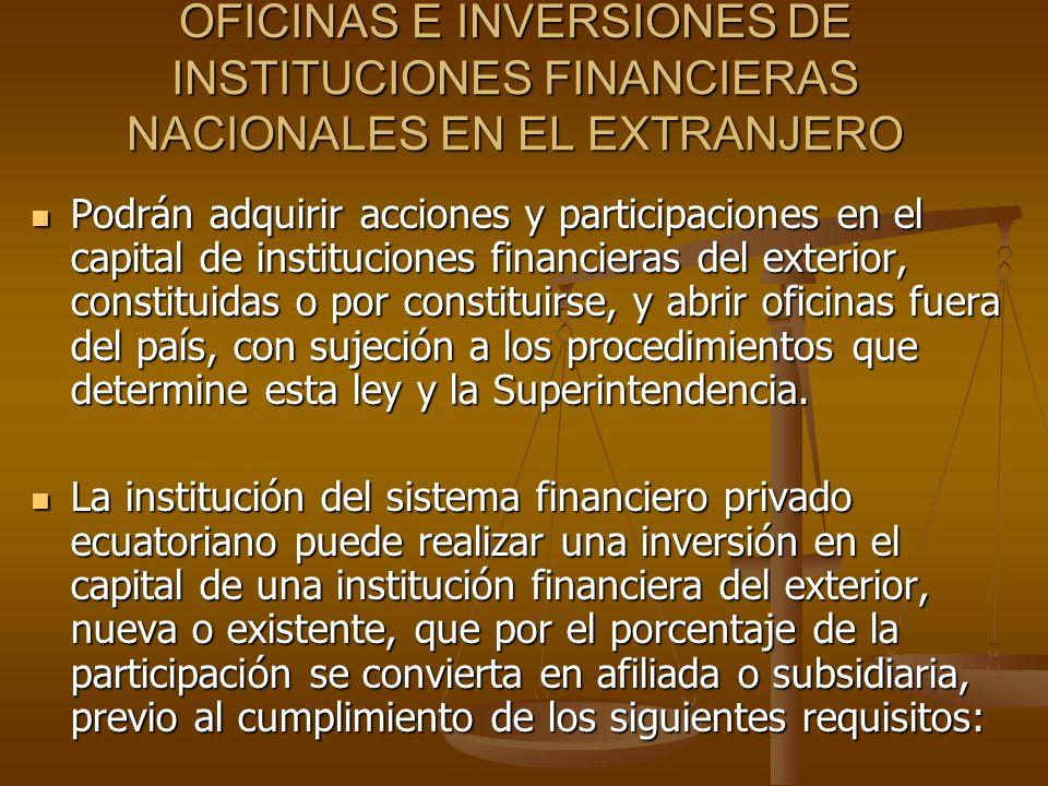 OFICINAS E INVERSIONES DE INSTITUCIONES FINANCIERAS NACIONALES EN EL EXTRANJERO