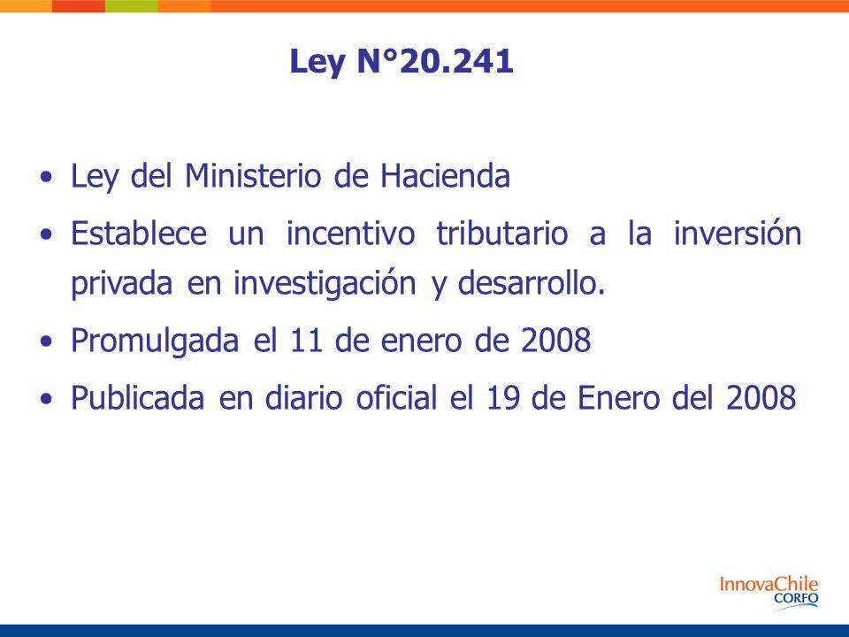 Ley N°20.241 Ley del Ministerio de Hacienda. Establece un incentivo tributario a la inversión privada en investigación y desarrollo.