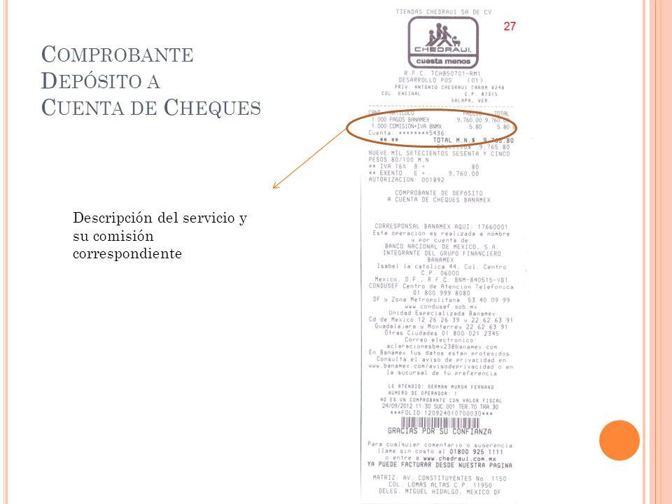 Comprobante Depósito a Cuenta de Cheques