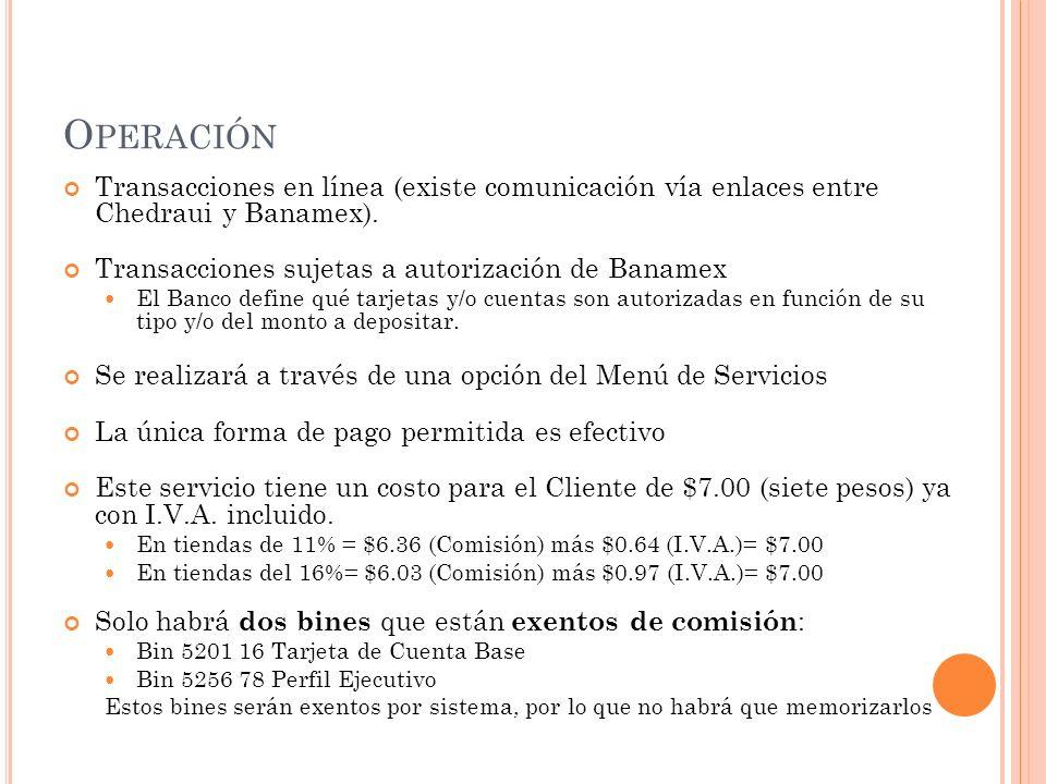Operación Transacciones en línea (existe comunicación vía enlaces entre Chedraui y Banamex). Transacciones sujetas a autorización de Banamex.